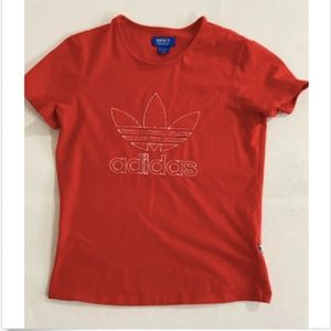 ADIDAS Womens Sz L Trefoil Logo T Shirt Tee Orange
